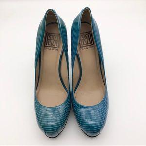 Pour La Victoire Blue Striped Platform Heels, 8.5